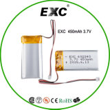 602040 batteries de cellules d'ion de lithium de 450mAh 3.7V