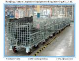 Caixa de armazenamento Foldable galvanizada do engranzamento de fio do metal com rodas