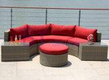 中庭のバルコニーの庭様式の半円のソファーによって441