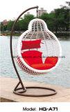 선전용 안뜰 방석을%s 가진 옥외 고리 버들 세공 그네 의자
