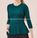 Damen Knitted Round Neck Long Sleeve Sweater mit Softer Handfeel