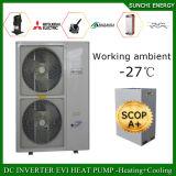 O quarto 12kw/19kw/35kw do medidor do inverno 100~350sq de Europa -25c Auto-Degela venda por atacado rachada da bomba de calor de Evi da fonte de ar da bobina elevada