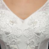 Платье венчания шнурка V-Шеи безрукавный (MZ-0058)