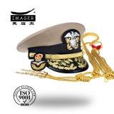 Classe confidencial militar perlada Headwear dos homens de couro dos chapéus primeira