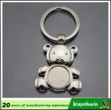 Dimensión de una variable del oso del metal en blanco Keychain