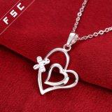Manier 18 de Zilveren Geplateerde Halsband van de Tegenhanger van de Vorm van het Hart '' voor Meisje