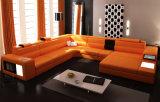 Sofa en cuir sectionnel de meubles modernes de salle de séjour avec l'éclairage LED (HC1054)