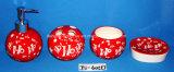 Reeks van de Ceramische Toebehoren van Badkamers 4 (van het dolomiet) met de Verpakking van de Doos van de Gift