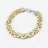 Men Bangle Fashion Jewelry Two Tone Stainless Steel Charm Bracelet