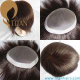 브라운 색깔 남자를 위한 단청 기본적인 머리 시스템 Toupee