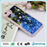 Caso duro de Bling TPU del brillo de Bling de la flor de las estrellas brillantes líquidas del agua para el iPhone 6 7 más