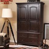Guardaroba del panno della camera da letto di legno di quercia rossa (GSP17-003)