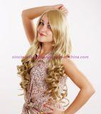 Peruca sintética Curly longa do cabelo com cor loura