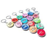 Keychain di vetro promozionale sveglio reso personale abitudine Hx-1003