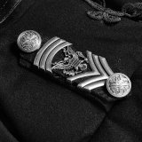 Y-722 Punk Rave Autumn Military Uniform Plate Buckles Casaco de veludo curto