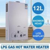 caldera del instante de la pista de ducha de la visualización del LCD del calentador de agua caliente del gas de 12L LPG
