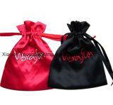 Sac rouge et noir de mode brodée par logo petit de satin de cordon de poche