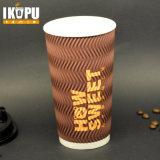 16oz personalizam o copo de papel do café descartável da parede da ondinha