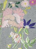 Camiseta del cuello de equipo de las mujeres al por mayor con floral bordada