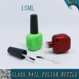 15ml botella de cristal del clavo del diseño plano para el cosmético