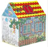 Farbanstrich-Kinder, die Haus-Zelt spielen