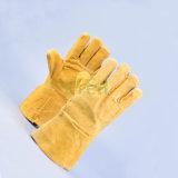 De dubbele Handschoenen die van het Leer van de Palm de Werkende Gespleten Handschoenen van de Koe lassen