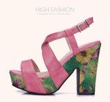 (Donna-в) сандалии женщин высоких пяток платформы Weave коровы кожаный флористические