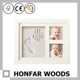 Andenken-Geschenk-weiße Eichen-hölzerner Baby-Foto-Rahmen mit Lehm