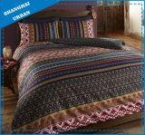 インディゴの赤い縞ポリエステルは羽毛布団カバーセットを印刷した