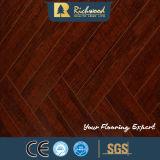 Commercial 12.3mm Miroir Walnut Sound Absorving Laminate Flooring