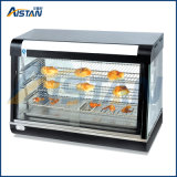 Étalage de chauffage en verre incurvé par R60-2 de matériel d'aliments de préparation rapide