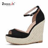 (Donna-in) sandali delle donne del cuneo della corda della cinghia della caviglia della pelle scamosciata del capretto di modo