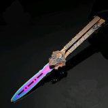 Складывая нож бабочки практики лезвия ножа окаимленный (SYSG-1864)