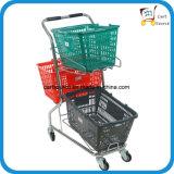 日本のスタイルのスーパーマーケット3つのバスケットショッピングカート、ショッピングトロリー、