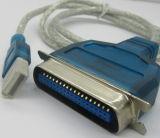 칩, 및 USB male형 커넥터 다른 측 옆, dB25p 하나와 더불어 VGA 케이블, 주문 길이