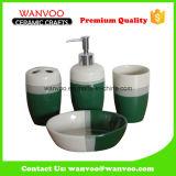 녹색은 4개 피스 세라믹 비누 분배기 목욕탕 세트를 윤이 났다
