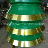 Manteau élevé d'acier de manganèse de broyeur de cône/doublure/ronds concaves/cuvette