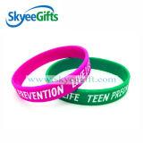 Kundenspezifische SilikonWristbands mit Debossed Farbe gefülltem Firmenzeichen