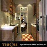 光沢MDFの現代アパートのための木製のベニヤの食器棚