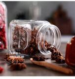 مربّعة زجاجيّة تشويش يزيّن مرطبان/عسل مرطبان زجاجيّة مع نوع ذهب غطاء/[ستورج كنتينر.] زجاجيّة