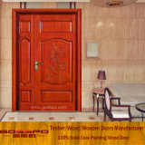 Bois solide découpant la double porte d'entrée du bois extérieure de porte (XS1-019)