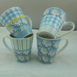 Tasses de café en céramique d'étiquettes de fleur pour des cadeaux promotionnels (JSD-ZV-03)