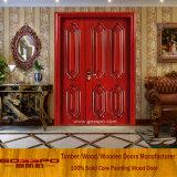 Porta de madeira desigual das portas de entrada dobro da madeira contínua para a venda (XS1-011)