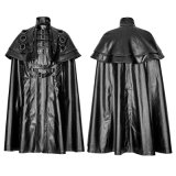 Gótico japonês Solider Metálico Big Cloak Men Leather Long Coat (Y-747)