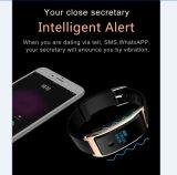 Relógio esperto de couro preto para dispositivos Android