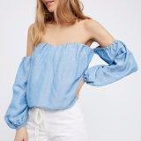 Кофточка джинсовой ткани втулки слойки шеи шлюпки женщин способа сексуальная помытая