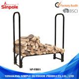 Al aire libre de 4 pies de madera de acero de Almacenamiento de Registro sostenedor del estante de leña en rack