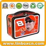 ギフトの錫ボックス包装のためのハンドルが付いている金属のお弁当箱
