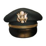 Casquillo máximo del oficial del ejército con estilo de la alta calidad con bordado de la hoja