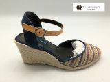 La rafia Ankel delle donne ha legato la scarpa di tela dei sandali dei cunei per la signora